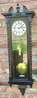 Antique Victorian Single Weighted Ebonised Vienna Wall Clock with Second Dial