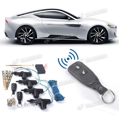 Car Central Lock 4 Door Locking Keyless Entry Kit System 2 Remote Controlers