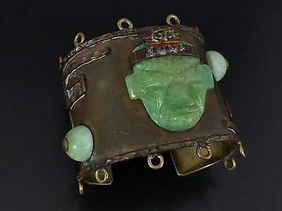 Vintage Huge Spectacular Mexico Copper or Brass Green Onyx Tribal Bracelet Cuff