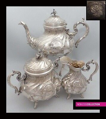 AMAZING ANTIQUE 1880s FRENCH FULL STERLING SILVER TEA POT SET 3 pc Rococo 53 oz