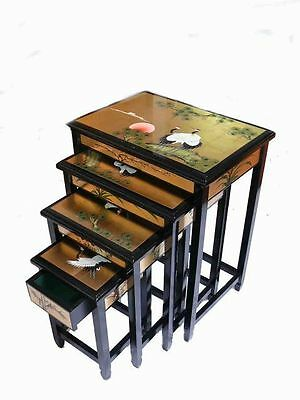 Gold Leaf with Cranes Design Nest of Four Tables Chinese Oriental Furniture