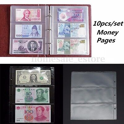 10Pcs 3 Pockets Money PVC Album Currency Pages Holder Bill Note Sheet Collection