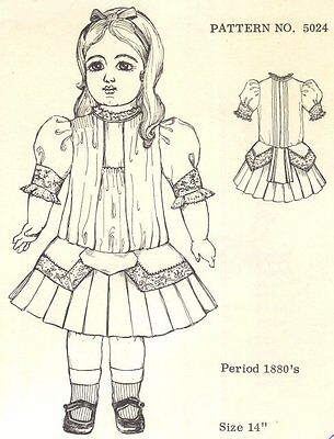"14"" Period DOLL DRESS PATTERN Victorian German French ANTIQUE vintage look 5024"