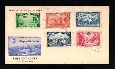 15834-NICARAGUA-FIRST DAY COVER MANAGUA 1939.WWII.Homage to Will Rogers.1º dia.