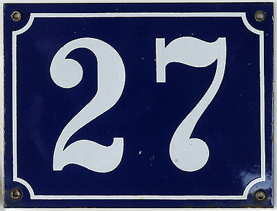 Large old blue French house number 27 door gate plate plaque enamel metal sign