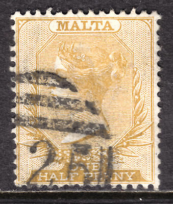 MALTA #7 1/2p ORANGE, 1882 Wmk.2, F, DUPLEX