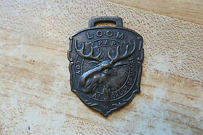 L.O.O.M.ORDER OF MOOSE WATCH FOB,Vintage collectible club emblem,old