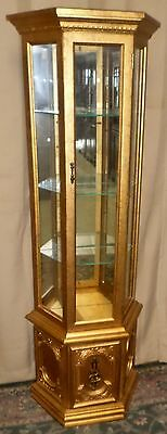 GOLD GILT CURIO CABINET Lighted Regency Style Display Case Mirrored Back