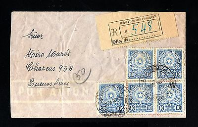 15225-REPUBLICA PARAGUAY-AIRMAIL REGIST.COVER URUGUAY to CHARCAS (argentina)1950