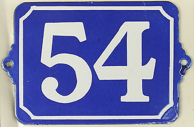 Large old blue French house number 54 door gate plate enamel steel metal sign