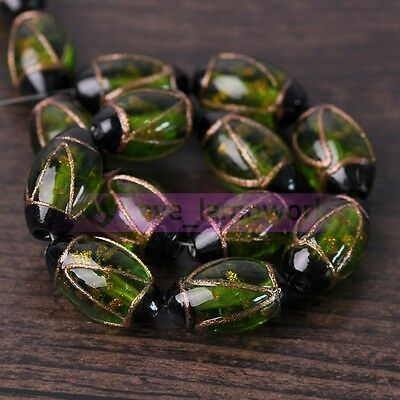Wholesale Lot 5pcs 24X14mm Oval Lampwork Glass Spacer Loose Beads Jewelry Making