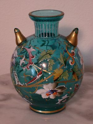 "Moser 5 1/5"" Blue Enamel Decorated posy Vase with Two Pointed Side Appendages"