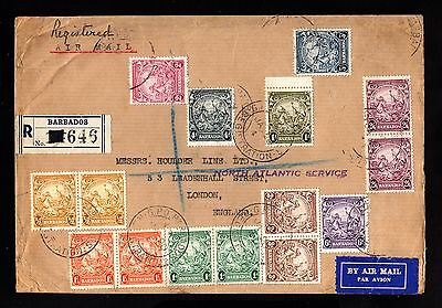 14994-BARBADOS-AIRMAIL REGISTERED COVER BARBADES to LONDON (england)1943.WWII.