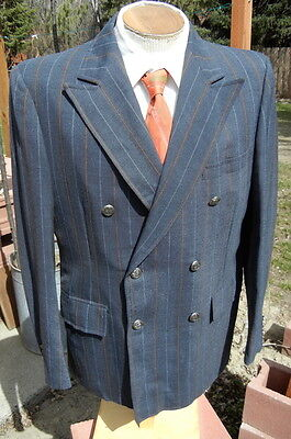 Vintage 1960s Double Breasted Chalkstripe Sport Coat 44R - Sixties Does Forties