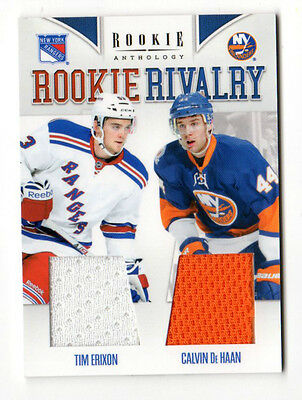 ERIXON /De HAAN NHL 2011-12 ANTHOLOGY ROOKIE RIVALRY JERSEYS (RANGERS,ISLANDERS