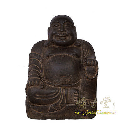 Chinese Antique Hand Carved Stone Happy Buddha Statuary 16XB06