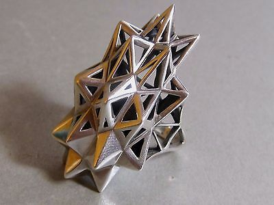 "JOHN BREVARD STELLATED "" Verahedra Series Sterling Silver Chunky Ring Size L"