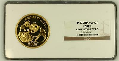 1987 CHINA GOLD 500YUAN 5oz PANDA PROOF, NGC PF 67 UC, MINTAGE 3000