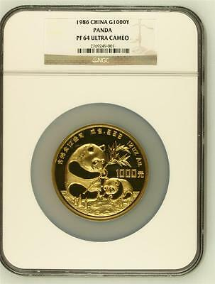 1986 CHINA GOLD 1000YUAN 12oz PANDA PROOF, NGC PF 64 UC, MINTAGE 2550