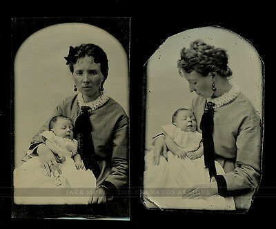 set of two tintype photos distraught looking woman & post mortem ? baby