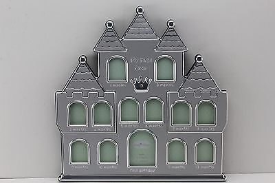 My First Year Newborn Silver Castle Photo Frame. Baby Shower Gift.