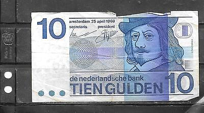 NETHERLANDS #91a 1968 GOOD CIRC 10 GULDEN OLD BANKNOTE PAPER MONEY  BILL NOTE