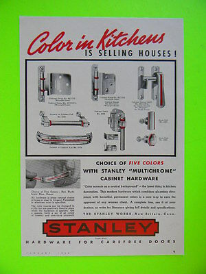 1939 Color In Kitchens Is Selling Houses ~ Stanley Hardware ~ Home Sales Art Ad