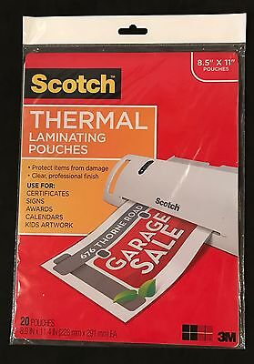 """*new* 3M Scotch Thermal Laminating Pouches 8.5"""" X 11"""" Inches 20 Pouches Pack Nip"""