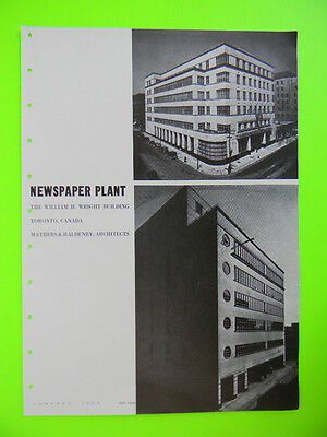 1939 Newspaper Plant ~ The William H. Wright Building Toronto Canada ~ Article