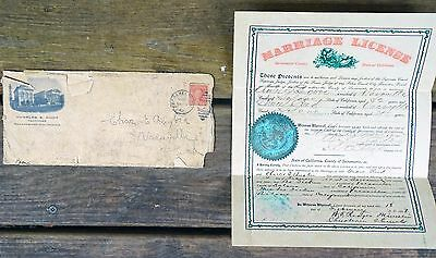 Rare 1907 Marriage Certificate Charles E Bugbee To Grace Reed Sacramento Ca Nice