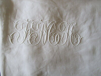 Antique French Monogram White Linen Sheet Embroidered Scalloped border 83 x 94""