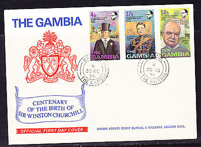 Gambia 1974 Winston Churchill First Day Cover  - Unaddressed