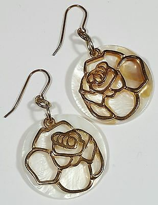 Vintage Jewelry Earrings Gold Tone Rose Mother Of Pearl Shell Christmas Gift#...