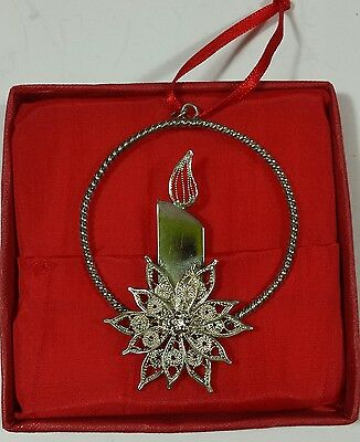 Vintage Silver Tone Christmas Tree Ornament Metal Candle Wreath Round Gift#2463