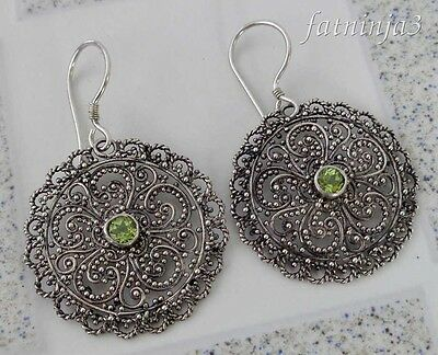 Peridot Solid Silver, 925 Bali Handcrafted Filigree Design Earring 34596
