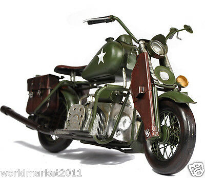 * 1:18 Army Green Motorcycle Model Decoration/Gift/Collection /Bar Props