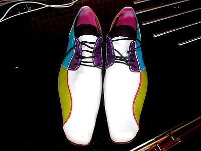 Mens Findig Multicoloured  Shoes Rockabilly Any Leather Designer Gc Size 42