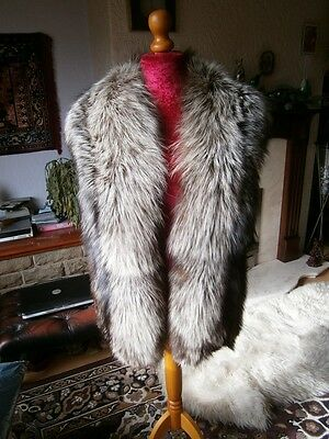 """Gorgeous vtg 40s HUGE 74"""" long SILVER FOX fur stole, thick soft & silky, MINT!"""