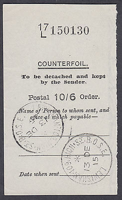 1915 Postal Order 10/6 Counterfoil only