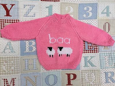 "Fab NEW Pink Hand Knitted Baby Jumper Sheep Baa 18"" 0-6 months Gift"