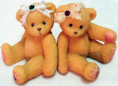 2 CHERISHED TEDDIES Little Sparkles BIRTHSTONE BEARS May & July AVON EXCLUSIVES