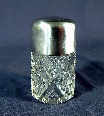 Cut Glass Perfume Bottle Sterling Silver Top dated 1904