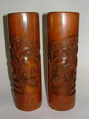 Tall Pr Vintage Antique Chinese Bamboo Brush Pot Bitong Vase Carved Wood Figures