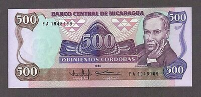 1985 500 Cordobas Nicaragua Currency Gem Unc Banknote Note Money Bank Bill Cash