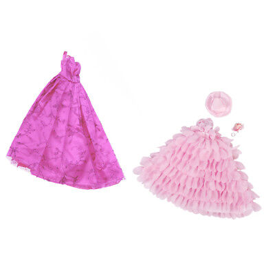 2Pcs Handmade Wedding Lace Dress Gown Clothes Outfits for Barbie Doll Gift