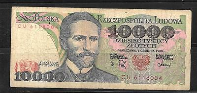 POLAND #151b 1988 VG 10000 ZLOTYCH OLD BANKNOTE PAPER MONEY CURRENCY BILL NOTE