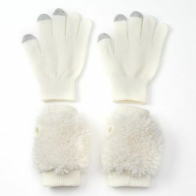 NWT SO ivory faux fur gloves, girl's size 4-7