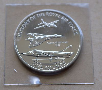 History Of The Royal Airforce Falklands War 2008 Guernsey £5 Coin Unc