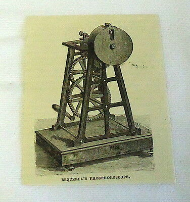 small 1882 magazine engraving ~ BEQUEREL'S PHOSPHORESCENT