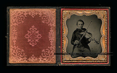 Excellent 1/6 Ambrotype Photo - Intense Young Violinist / Violin Player / Music